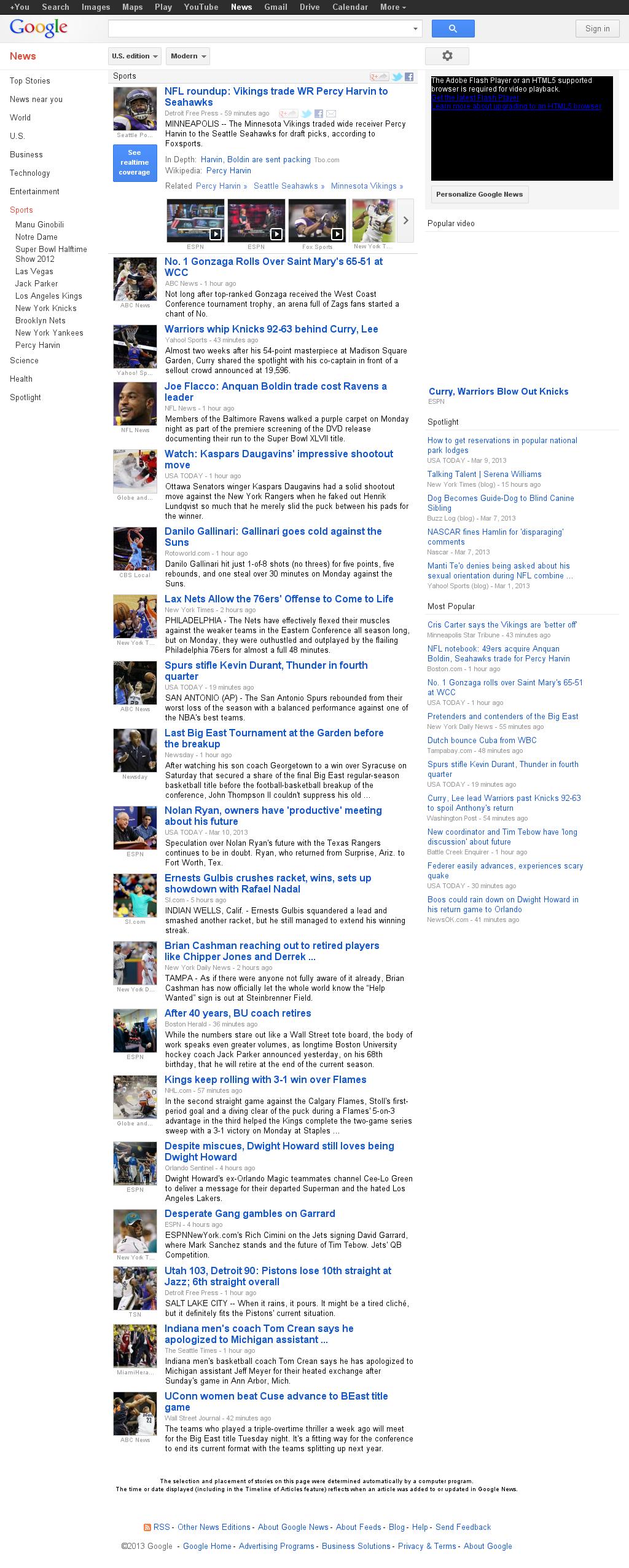 Google News: Sports at Tuesday March 12, 2013, 6:07 a.m. UTC