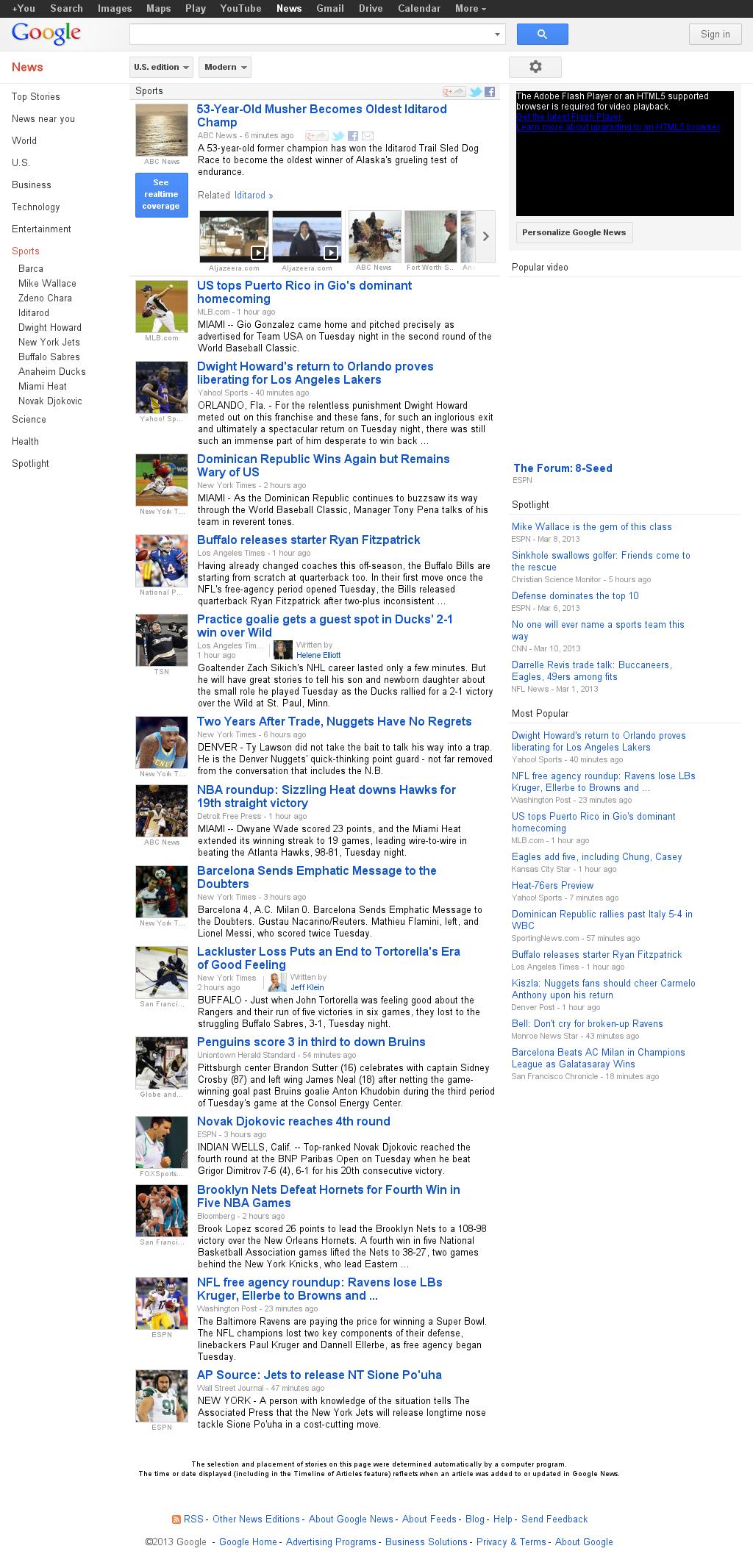 Google News: Sports at Wednesday March 13, 2013, 7:07 a.m. UTC