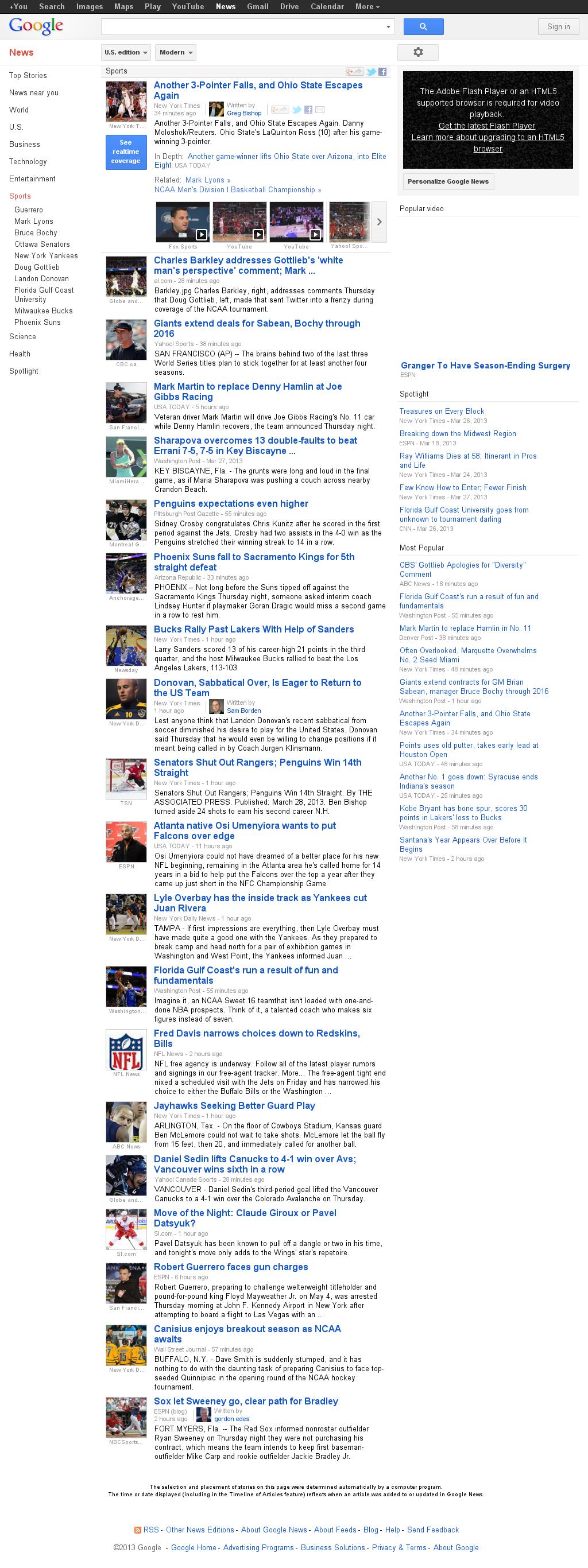 Google News: Sports at Friday March 29, 2013, 5:08 a.m. UTC