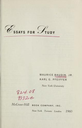 Cover of: Essays for study   Baudin, Maurice